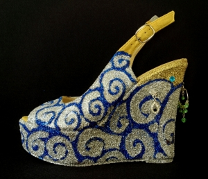 JULIET & THE FORBIDDEN GAMES SHOES #1, 2013 glitter and bijou on leather shoes photo Elena Girelli