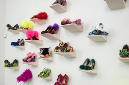 Criminal Aesthetic Fashion at the Skyscraper Club, Sculpture Shoes display, Diana Lowenstein Gallery, Miami, 2013