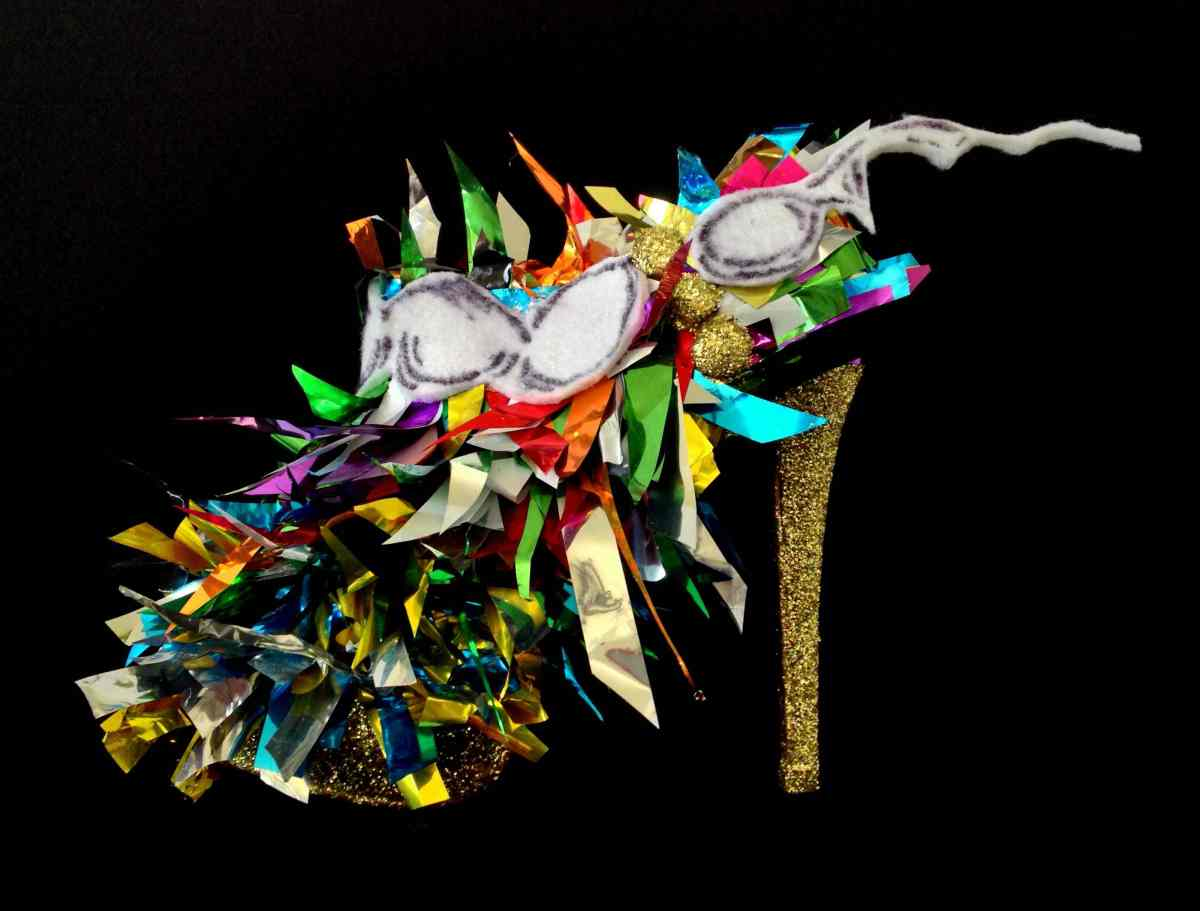 Juliet & the Forbidden Games Shoes #2, 2013, mylar felt and glitter on leather shoes, unique piece