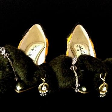 Juliet & the Forbidden Games Shoes #11, 2013, glitter, fur and bijou on leather shoes, unique piece