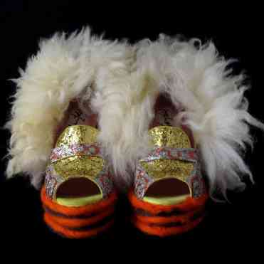 Juliet & the Forbidden Games Shoes #5, 2013, glitter, wool and sheep fur on leather shoes, unique piece