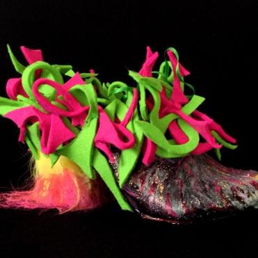 Juliet & the Forbidden Games Shoes #7, 2013, acrylic, felt, glitter, sheep fur on leather shoes, unique piece