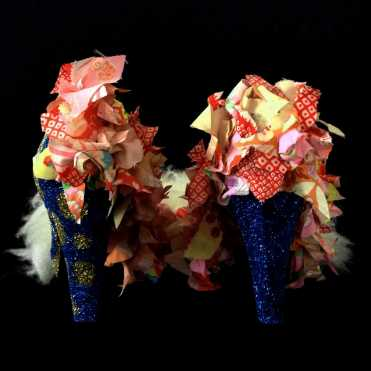 Juliet & the Forbidden Games Shoes #4, 2013, textiles, fur and glitter on leather shoes, unique piece