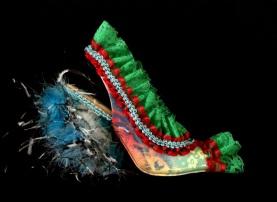 Bastardisation #5, 2014, spray paint, fur and fabric decoration on open toe décolleté shoes, size n37, unique piece