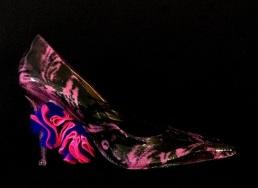 Bastardisation #11, 2014, spray paint, plumes and pon pon on on décolleté, size n39/8, unique piece