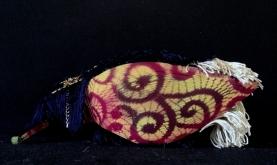 Bastardisation #7, 2014, fringes, bijoux and gold leaf on leather boots, size n41, under shoes view, unique piece