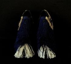 Bastardisation #7, 2014, fringes, bijoux and gold leaf on leather boots, size n41 unique piece