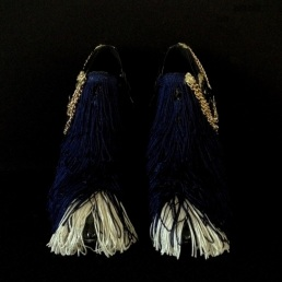Bastardisation #7, 2014, fringes, bijoux and gold leaf on leather boots, size n41 unique piece