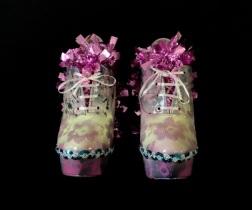 Bastardisation #8, 2014, spray paint, sequins and decoration on ankle boots, size n38 unique piece