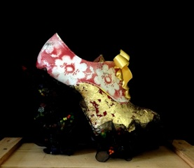Bastardisation #17, 2014, pearls, gold leaf and spray paint decoration on ankle boots, size n37, unique piece