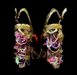 Daniel González_Bastardisation #21_2014_pearls, gold leaf and spray decoration on open toe pumps_number 39 unique piece _ph Elena Girelli