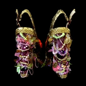 Bastardisation #21, 2014, gold leaf, pearls and bijoux on leather sandal, size n39, unique piece