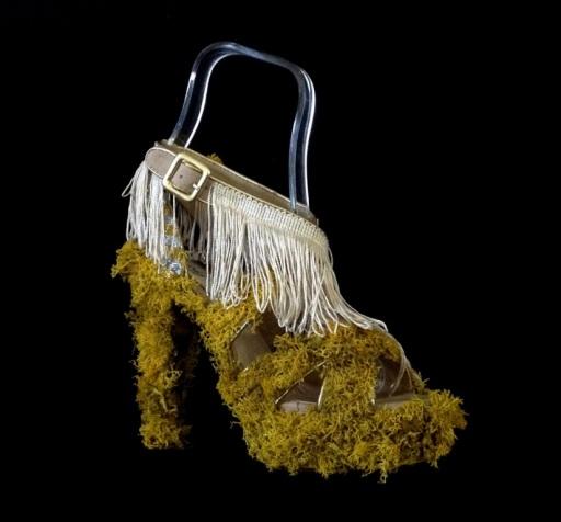 Bastardisation #23, 2014, fringes, golden decoration, Iceland's moss and spray paint on cross string sandal, size n38, unique piece