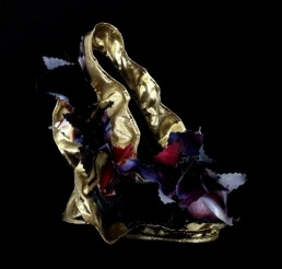 Daniel González_Bastardisation #25_2014_sequins, golden and fabric decoration and spray paint on décolleté_n37,5_unique piece _ph Elena Girelli