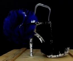 Daniel González_Bastardisation #29_2014_pon pon, fringes, silver leaf and spray paint on sandal_n39_unique piece _ph Elena Girelli