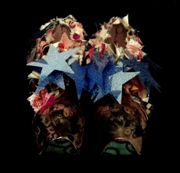 Daniel González_Bastardisation #30_2014_stars, Japanese silk, fringes, silver leaf and spray paint on ankle boots_n38_unique piece _ph Elena Girelli