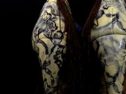Daniel González_Bastardisation #32_2014_fringes, silk and spray paing on armadillo heels sandals_n38_unique piece _ph Elena Girelli