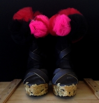 Daniel González_Bastardisation #35_2014_gold leaf on panty hose, pon pon and spray paint on sandal_unique piece _ph Elena Girelli