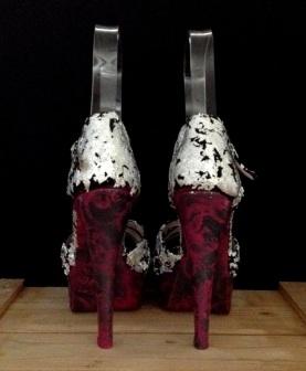 Bastardisation #37, 2014, silver leaf, spray paint and fringes on sandal pumps, size n37, unique piece