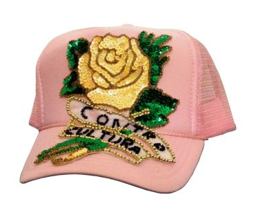 Cap Contro-Cultura #17, hand-sewn sequins decoration on trucker cap, unique size, unique piece