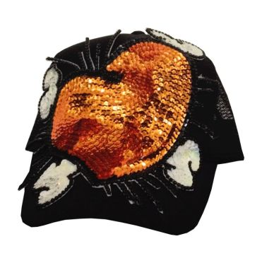 Cap Heart #16, hand-sewn sequins decoration on trucker cap, unique size, unique piece