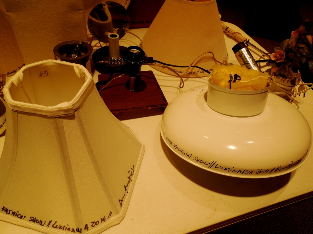 The lamps borrowed from citizens of San Antonio forthe Bohemian Texas Street Home Fashion Show, Luminaria 2014