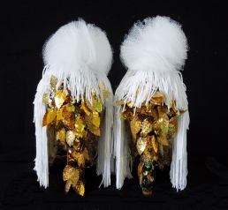 Cheaper Fast Love #1, gold leaf, silk fringes, tulle and hand-sewn sequins on leather shoes, 2015, n39 unique piece