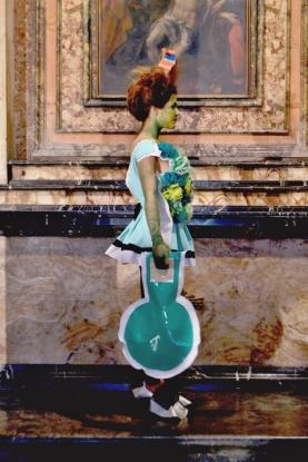 Daniel González D.G. Clothes Project, Cut-Up Collection, 2015 - Bags, frame from performance, Portrait Fashion Factory, performance, Rome, 2015