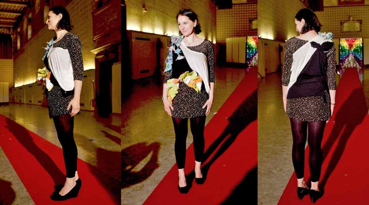 """Daniel González D.G. Clothes Project, Wearable Sculpture-Portrait, live production during """"Portrait Fashion Factory"""" Performance"""