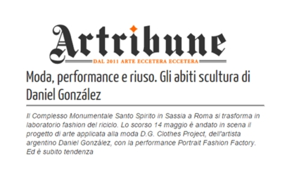 """Artribune review about """"Portrait Fashion Factory"""" performance, May 14th, 2015, Rome"""