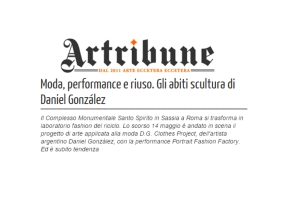 "Artribune review about ""Portrait Fashion Factory"" performance, May 14th, 2015, Rome"