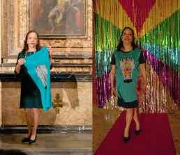 "Wearable Sculpture-Portrait, before & after live production during ""Portrait Fashion Factory"" Performance"