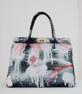 Grandmother Bag Collection #12, 2015 graffiti bag. unique size, unique piece, courtesy Daniel González D.G. Clothes Project