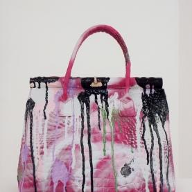Grandmother Bag Collection #3, 2015 graffiti bag. unique size, unique piece, courtesy Daniel González D.G. Clothes Project
