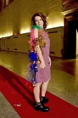"""Wearable Sculpture-Portrait, live production during """"Portrait Fashion Factory"""" Performance"""