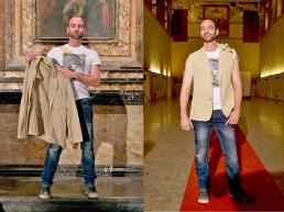 "Wearable Sculpture-Portrait, before & after live production during ""Portrait Fashion Factory"" Performance"