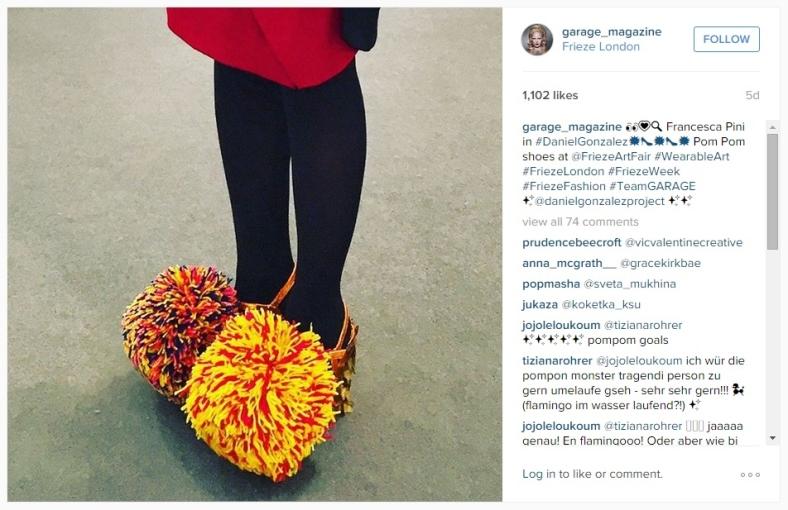 Francesca Pini on Garage Magazine Instagram