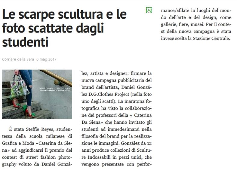 Le scarpe scultura e le foto scattate dagli studenti, Corriere della Sera, 7 maggio 2017 abstract from pressreader.com
